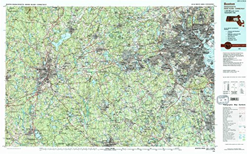 Boston MA topo map, 1:100000 scale, 30 X 60 Minute, Historical, 1989, updated 1989, 24.1 x 38.4 IN - - Map Auburn Ma