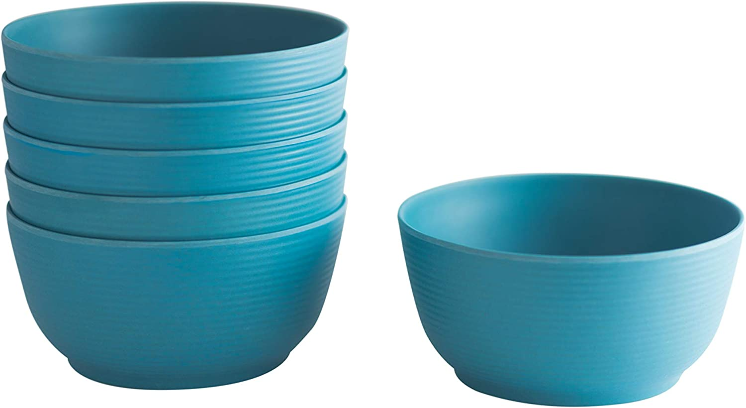 Natura Green- Bamboo Whirl Bowls- Set of 6-24 oz. (700ml) each (Blue)