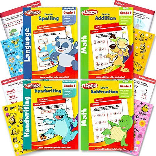 Playskool Grade 1 Workbooks Set -- 4 Workbooks for 1st Graders with Reward Stickers (Spelling, Handwriting, Addition, Subtraction)