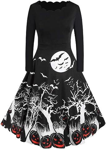 Kolylong® sukienka damska, rockabilly, elegancka, sukienka na Halloween, długa sukienka dla kobiet, do kolan, styl vintage, bodykon, z długim rękawem, na imprezę, bal przebierańcÓw, imprezę,
