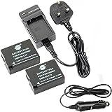 DSTE® 2x DMW-BLC12 Replacement Battery + DC114U Travel and Car Charger Adapter for Panasonic Lumix DMC-G5 DMC-G6 DMC-G7 DMC-GH2 DMC-FZ200 DMC-FZ200GK DMC-FZ1000 V-LUX4 Leica Q Camera as DMW-BLC12E DMW-BLC12PP BP-DC12 BP-DC12U BP-DC12E