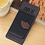 DAMONDY Galaxy Note 8 Case, Luxury Leaf Wallet Purse Card Holders Design Cover Soft Bumper Shockproof Flip Leather Kickstand Case for Samsung Galaxy Note 8 2017-black