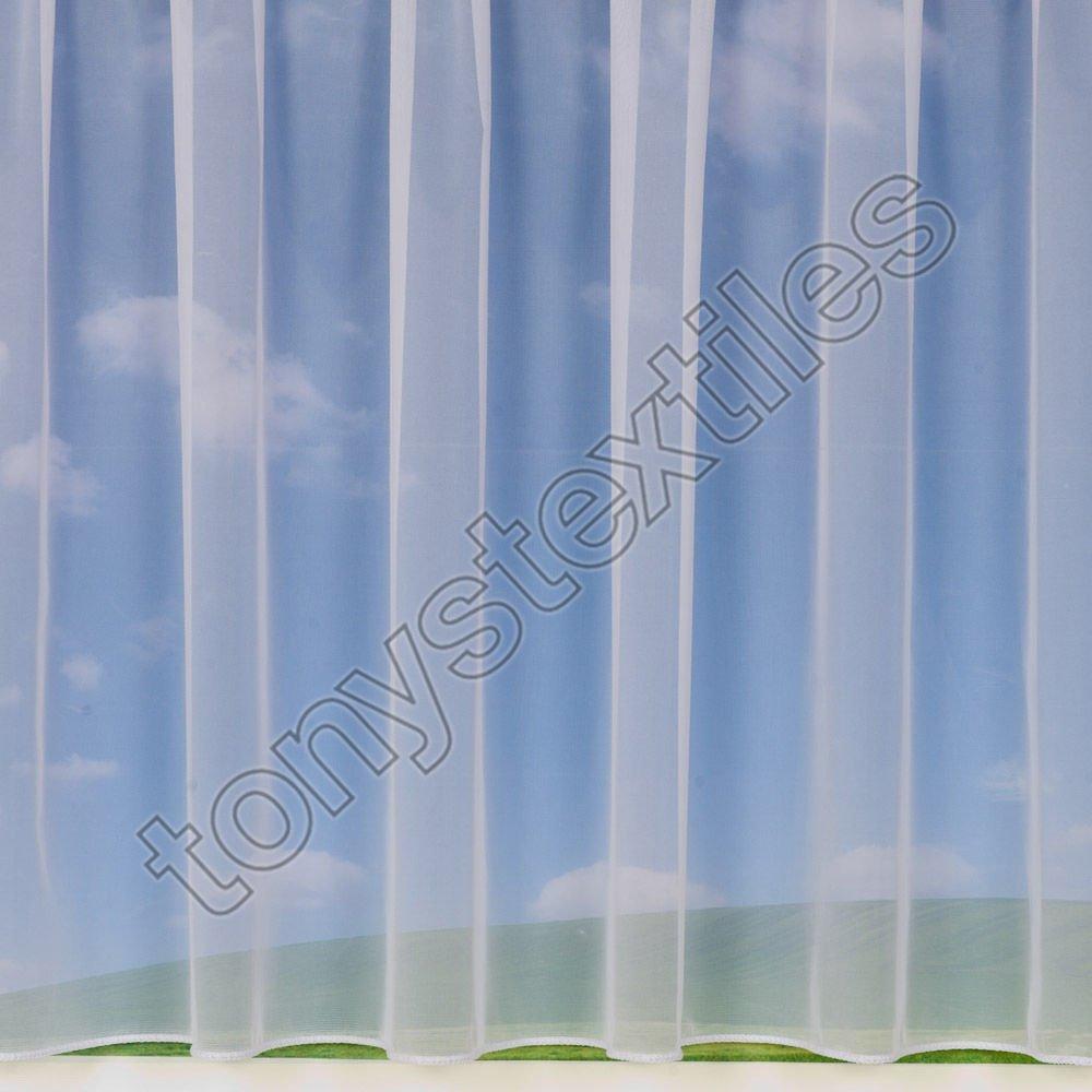 Tony's Textiles Rideau Style Voilage - avec Passe-Tringle - Vendu au mè tre - uni/Fleurs/Rayures - Danielle - 91 cm Mirabel