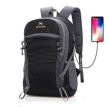 Ligero Mochila de senderismo Mochila de trekking Plegable Packable Daypack Bolsa de hombro Impermeable Deportes al aire libre-Negro: Amazon.es: Deportes y ...