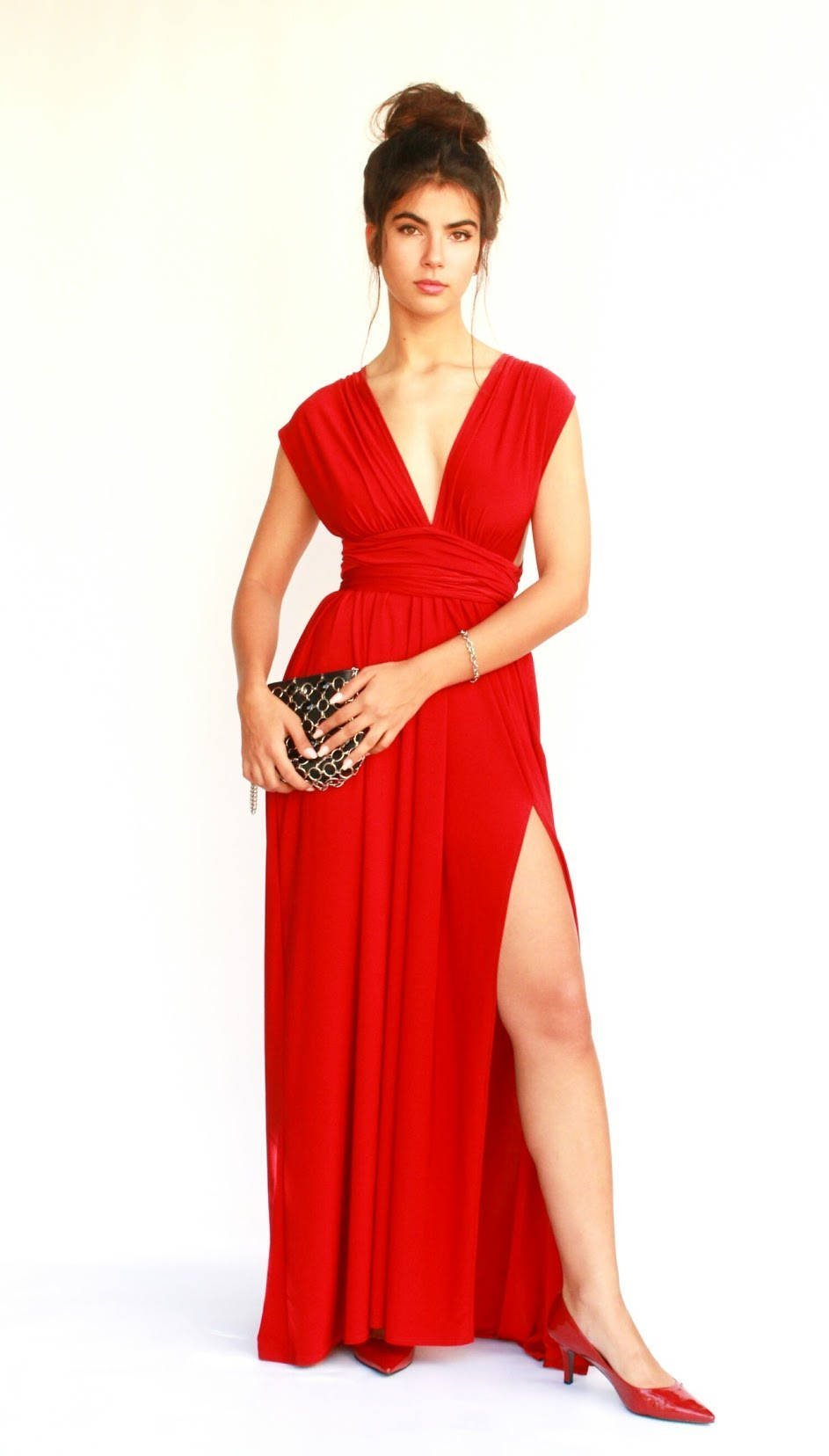 Women's Infinity Red Prom Dress, Bridesmaid Evening Dress, Maxi Long Dress for Wedding, Elegant Lycra Gown