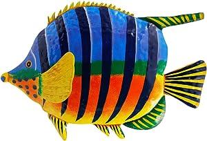 "Zcaukya Metal Fish Wall Decor, Vivid Colorful Fish Art Wall Hanging for Indoor Outdoor Home Bedroom Office, 15"" x 10"""