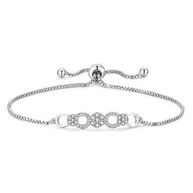 176a53bb10254 TUSUZIK Infinity Love Heart Bracelet, 925 Sterling Silver Adjustable ...