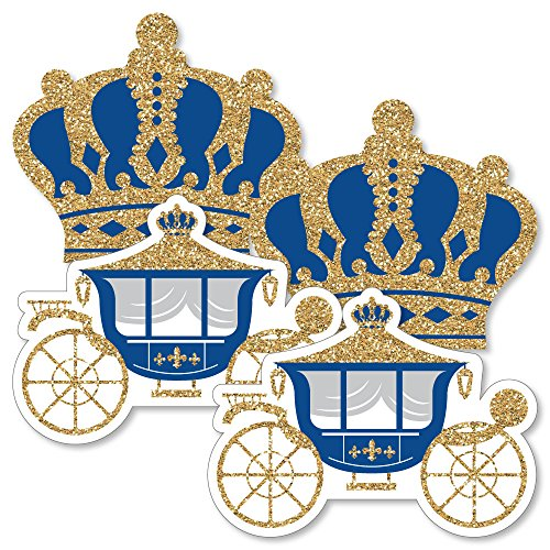 Royal Prince Charming - Crown & Carriage Decorations DIY Baby Shower or Birthday Party Essentials - Set of 20 ()