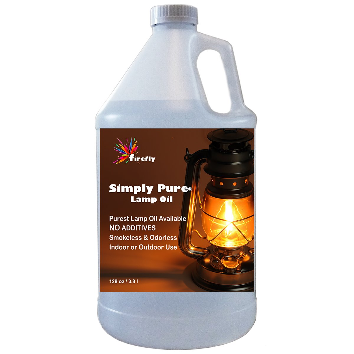 Firefly Paraffin Lamp Oil - 1 Gallon - Odorless & Smokeless - Simply Pure - Ultra Clean Burning Liquid Paraffin Fuel by Firefly