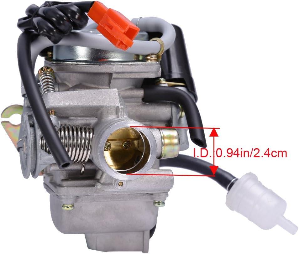PD24J Carburetor for 4-Stroke GY6 125cc 150cc ATV Go Karts Scooter Mopeds QMJ/QMI157 QMJ/QMI152 - Manifold Intake Fiameter 24mm PD24J Carb