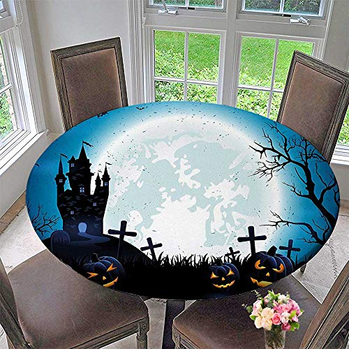 Mikihome Circular Table Cover Spooky with Halloween Icons Harvest Festival in Dark Blue for Wedding/Banquet 67
