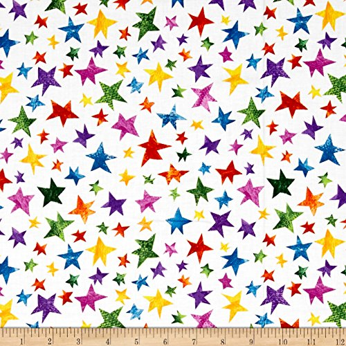 Juvenile Fabric - Andover The Very Hungry Caterpillar Stars Multi Fabric by The Yard