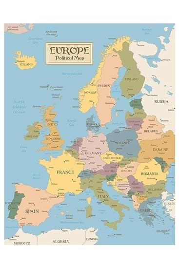 Vintage Map of Europe Art Print Laminated Dry Erase Sign Poster 12x18
