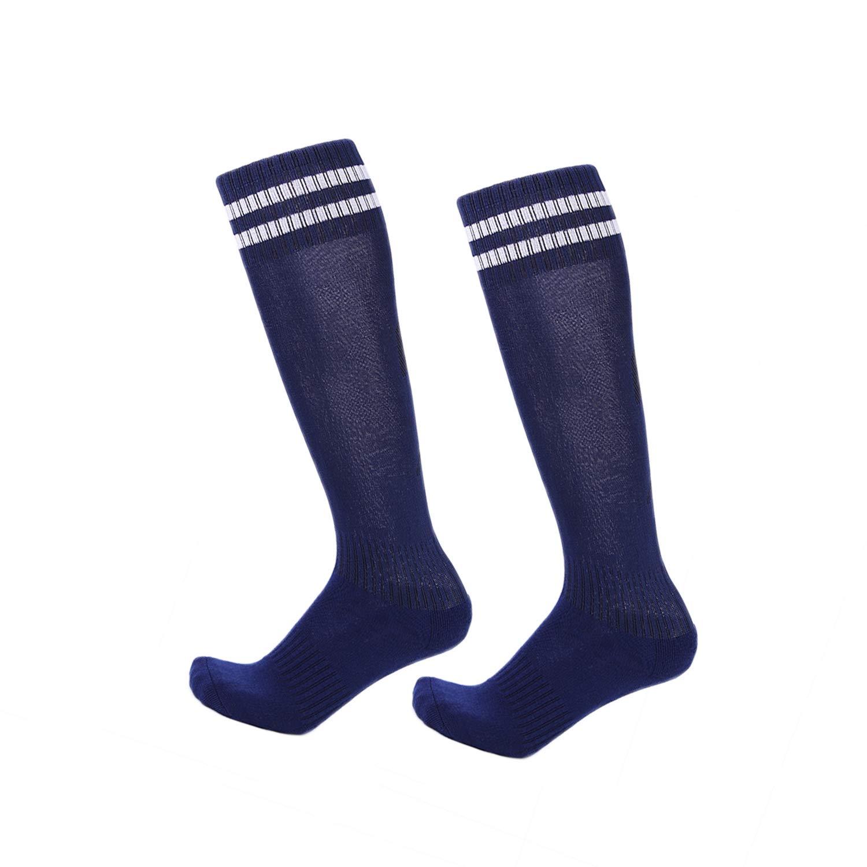 2 Pairs Boys Girls Soccer Socks Towel Cushioning Compression Sport Socks Cotton Team Socks for Children & Kids & Teenagers Royal Blue by EBlife