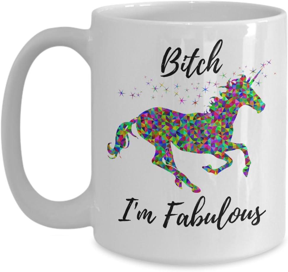 ChillThreads Bitch I'm Fabulous - Funny Unicorn Mug - Ceramic Mug - Cute Coffee Gift (15 oz)