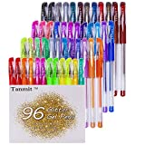Tanmit Glitter Gel Pens, 96 Gel Pens Glitter Coloring Set Including 48 Sparkly Colors & 48 Refills for Adult Coloring Books Crafting Drawing Art Markers