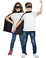 Kids Super Hero Villain Blue Cape & Eyemask Children Fancy Dress Halloween Book Week Eye Mask Unisex Girls Boys