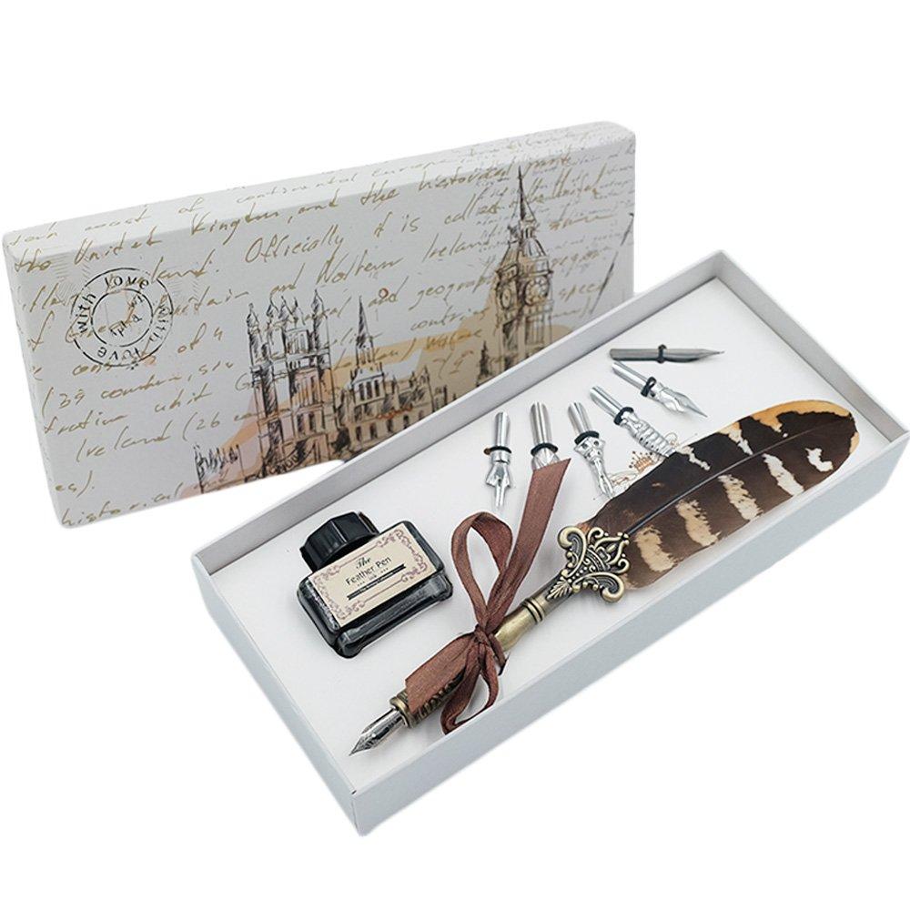 Piuma, con set di penne con inchiostro e acciaio INOX 6PZ pennini penna per calligrafia in confezione regalo HOHUHU