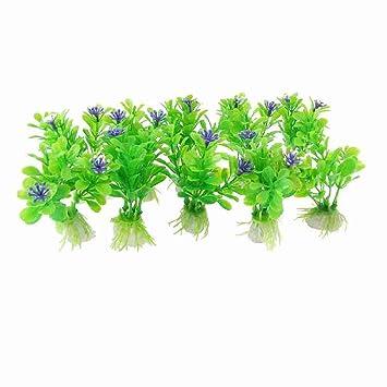 10x Azul Diseño de flores Decor plástico verde agua plantas para Acuario: Amazon.es: Productos para mascotas