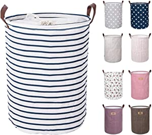 DOKEHOM 17.7-Inches Large Laundry Basket (9 Colors), Drawstring Waterproof Round Cotton Linen Collapsible Storage Basket (Blue Strips, M)