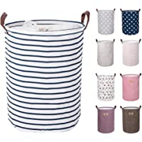 DOKEHOM 17.7-Inches Large Laundry Basket, Drawstring Waterproof Round Cotton Linen Collapsible Storage Basket (Blue Strips, M)