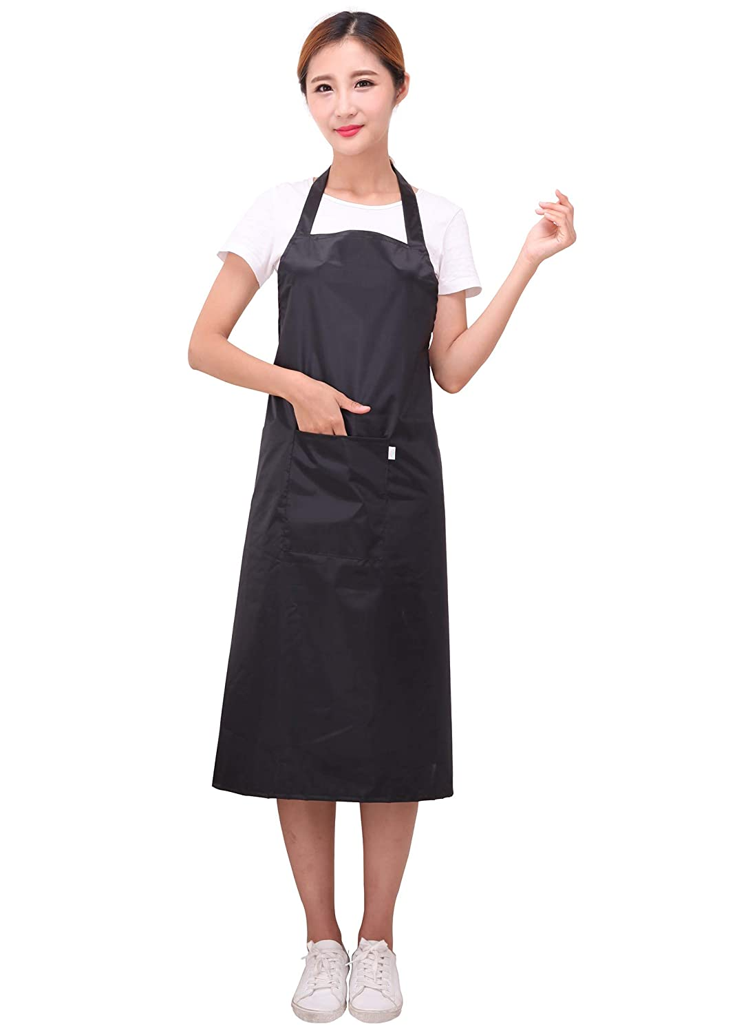 Extra Long and Thicker Version Waterdrop Resistant Oxford Cloth PVC Cooking Work Apron for Kitchen Home 27.6 x 37.1 inch Kingshalor Adjustable Bib Apron with Pocket for Women Men Black