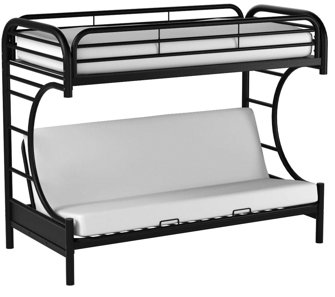 Sturdy Eclipse Twin Over Full Futon Bunk Bed,includes Guard rails,Easy to Assemble,in Multiple Colors (Black) by Generic