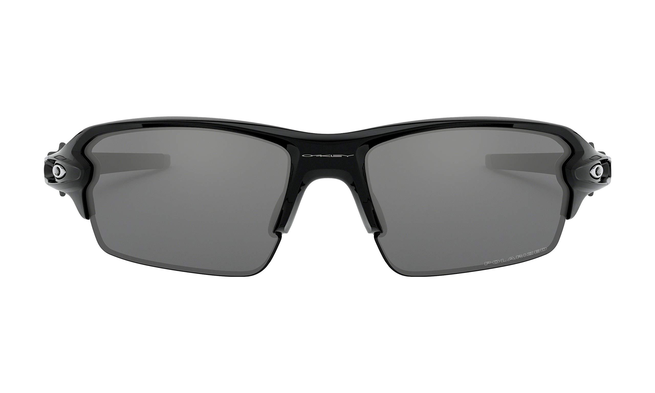 Oakley Flak 2.0 Sunglasses (Polished Black Frame, Black Iridium Polarized Lens), Lens Cleaning Kit and Ellipse O Carbonfiber Hard Case by Oakley