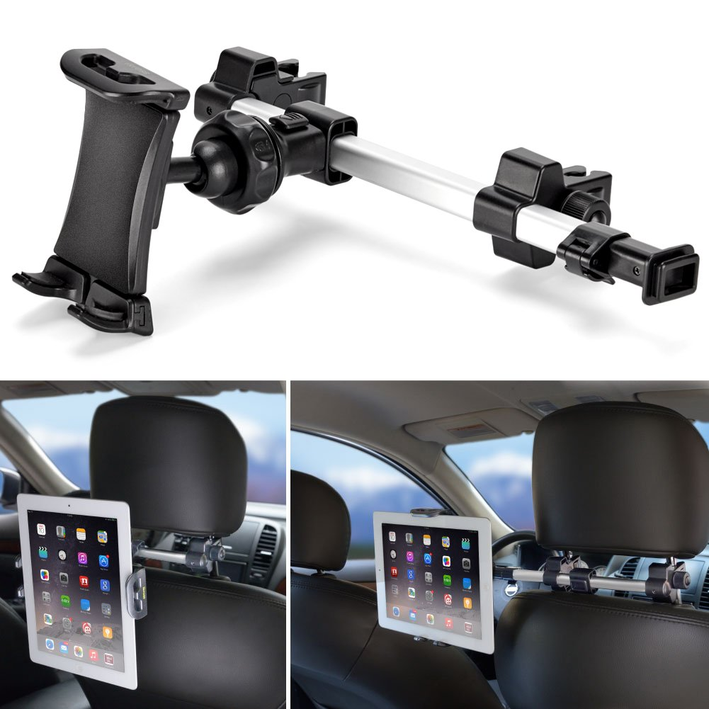 iKross Car Tablet Mount Holder Universal Backseat Headrest Extendable Mount for Apple iPad, iPhone, Tablet, Smartphone, Nintendo Switch with Dual Adjustable Positions and 360° Rotation by iKross