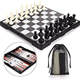 Peradix Travel Chess Set Magnetic Folding Board Game 3 in 1 with Chess Checkers Backgammon Pieces Storage Box & 3 Mesh Bags Bigger Size but Portable for Tour for Kids and Adults