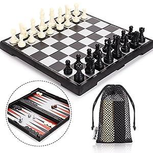 Peradix Tablero Ajedrez Magnetico, 3 EN 1 Ajedrez y Damas Backgammon en Estuche con Portátil de Tablero Plegable para… 5