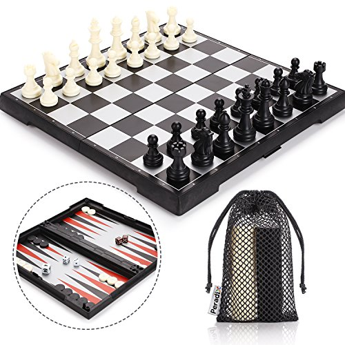 Peradix Travel Chess Set Magnetic Folding Board Game 3 in 1 with Chess Checkers Backgammon Pieces Storage Box & 3 Mesh Bags Bigger Size but Portable for Tour for Kids and Adults by Peradix