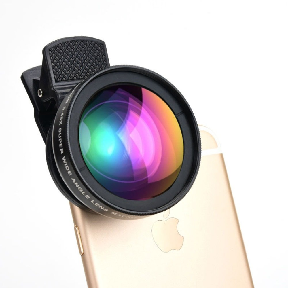 HD Cell Phone Camera Lens 0.45X Wide Angle + 15X Macro Lense Accessories Kit by ProPix - Expand Your Field of View By 50%, Capture Unrivaled Detail - Fits iPhone/iPad & Most Smartphones by Indominous
