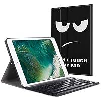 Fintie Bluetooth Tastatur Hülle für iPad 9.7 Zoll 2018 2017 / iPad Air 2 / iPad Air - Ultradünn leicht Ständer Keyboard Case mit magnetisch Abnehmbarer drahtloser Deutscher Tastatur, Don't Touch
