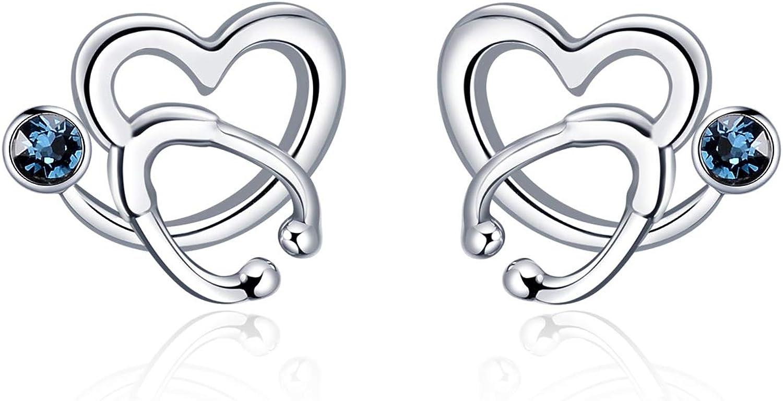 AOBOCO - Pendientes de plata de ley con diseño de estetoscopio y corazón para enfermeras con cristales de Swarovski, regalo para médico, enfermera, estudiante de medicina