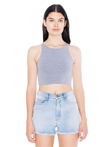6e8a273f16453e American Apparel Women's Cotton Spandex Sleeveless Crop Top Size XS Athletic