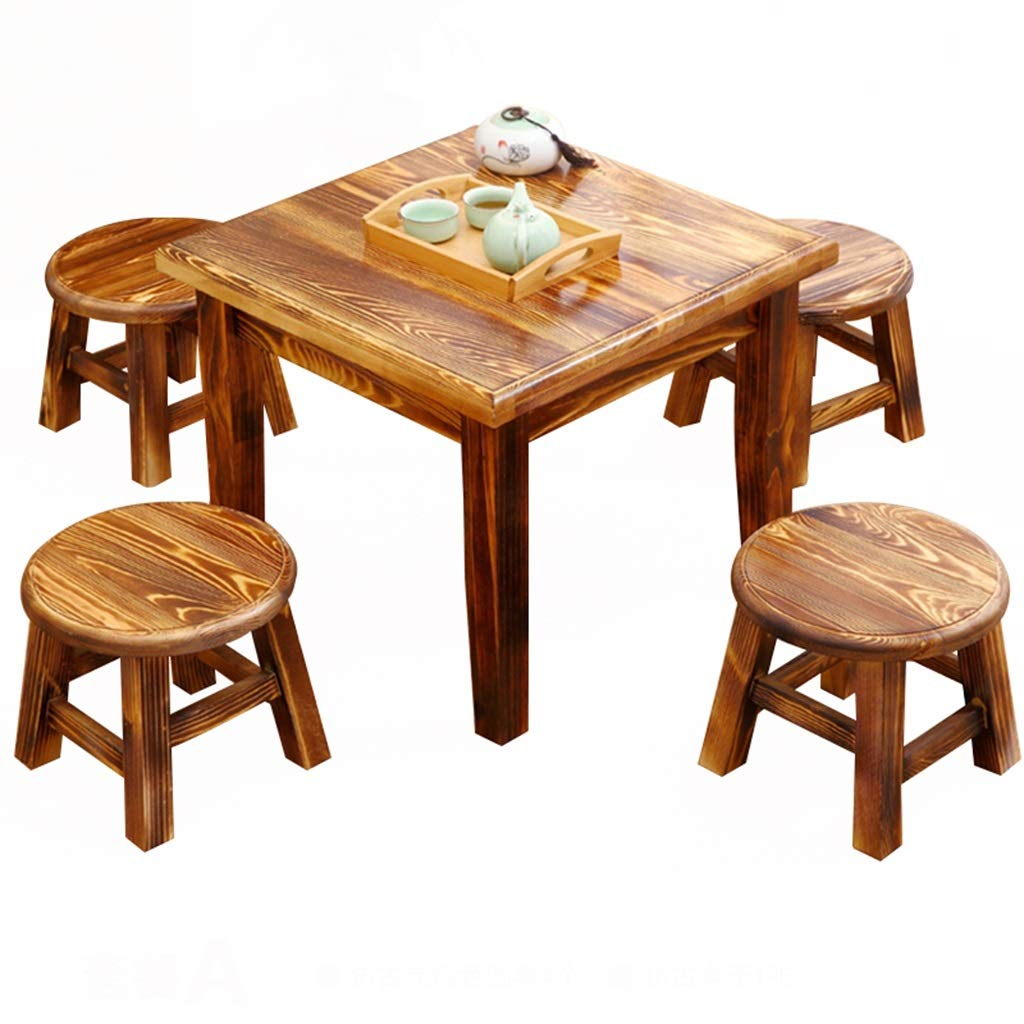 A 1 table and 4 4 4 stools Stooltable, home solid wood tea table