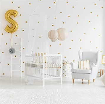 Lfeey 6x6ft Pure Newborn Babyroom Interior Photo Backdrop White Wall Gold Dots Wallpaper Photography Background Baby Shower Kids Birthday Party