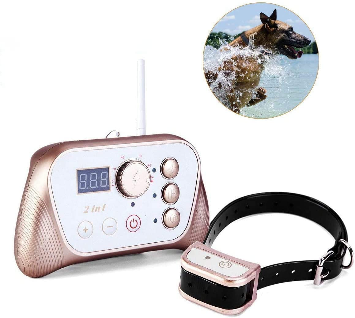 JUSTPET Wireless Fence Dog Containment Training 2 in 1 System, Stable Signal Electric Wireless Pet Fence, Beep/Vibrate/Shock Rechargeable Waterproof Collar