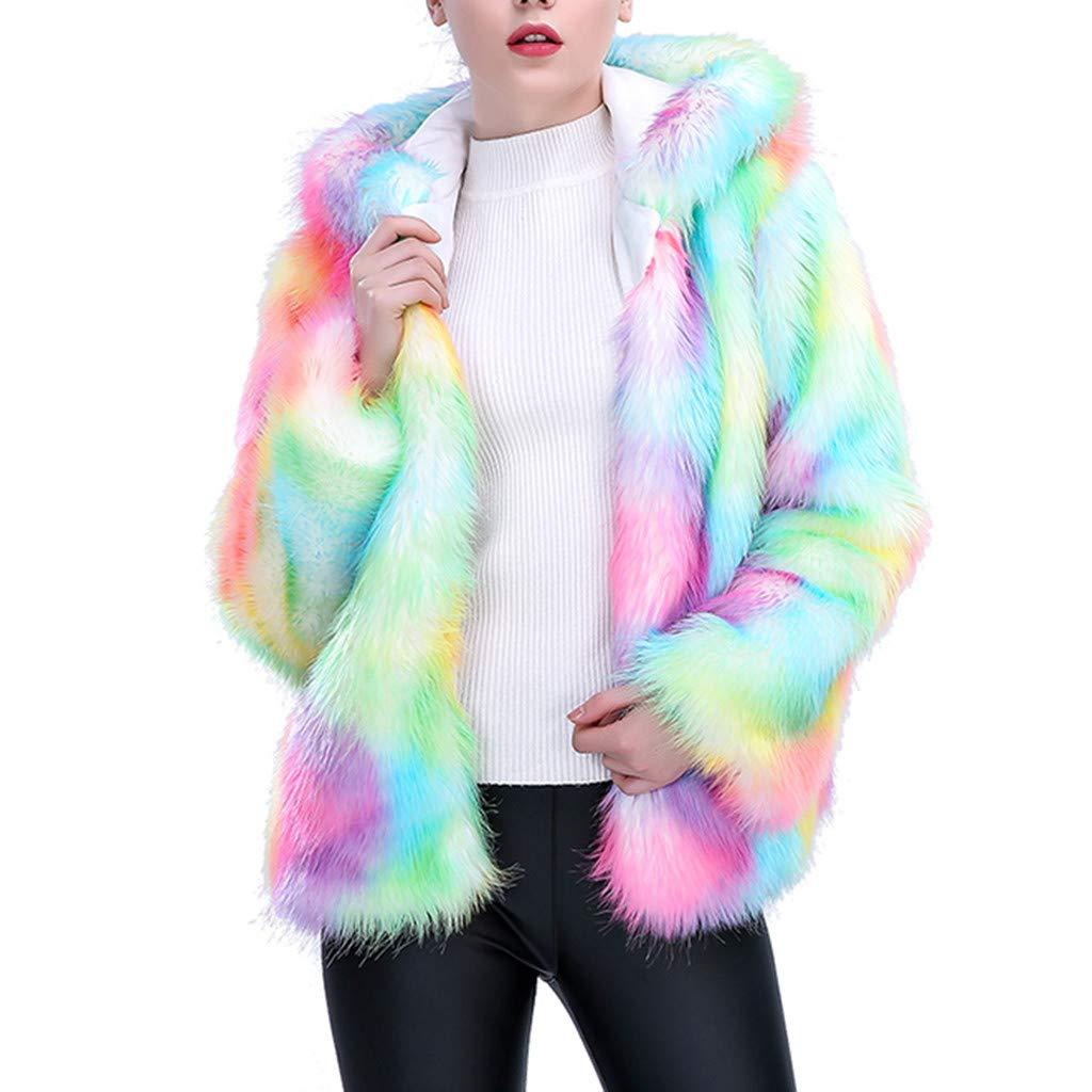 〓COOlCCI〓Novelty Short Hoodies Fur & Faux Fur Jackets & Coats for Women,Rainbow Stripe Jacket White Furry Rave Costume by COOlCCI_Womens Clothing