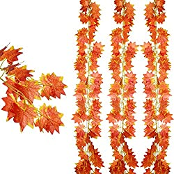 DearHouse 12 pack Autumn Artificial Silk Maple Leaf Garland Autumn Leaves Garland Hanging Plant for Home Kitchen Thanksgiving Autumns Wedding Decor
