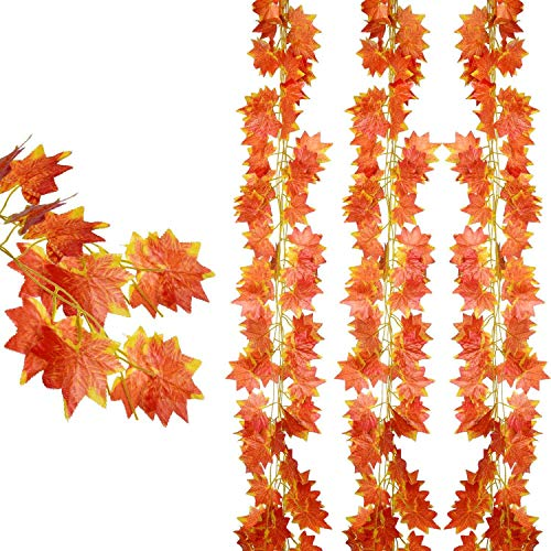 (DearHouse 12 pack Autumn Artificial Silk Maple Leaf Garland Autumn Leaves Garland Hanging Plant for Home Kitchen Thanksgiving Autumns Wedding)