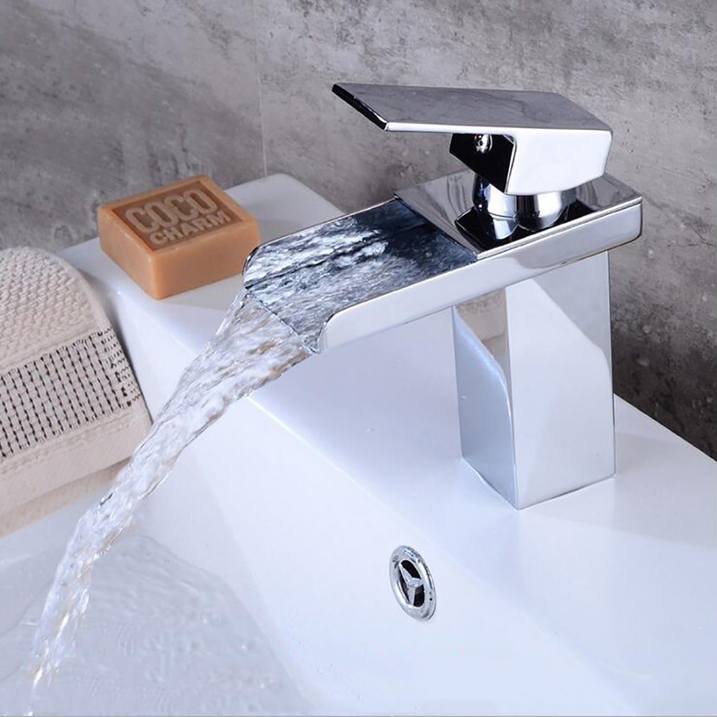 Fen Waterfall Bathroom Basin Taps, Brass Hot Cold Mixer Tap,Single Hole Mixing Hotel Faucet,Modern Luxury Mixer by Fen (Image #1)