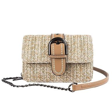 Bolsas de paja para mujer, bolsa de playa de ratán, bolsa de verano de paja bandolera con cadena para mujer