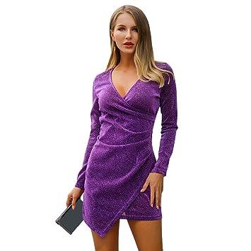 AchidistviQ Vestido Corto de Manga Larga con Cuello en V para Fiesta de Noche, Sexy, para Mujer, Morado, Large: Amazon.es: Hogar