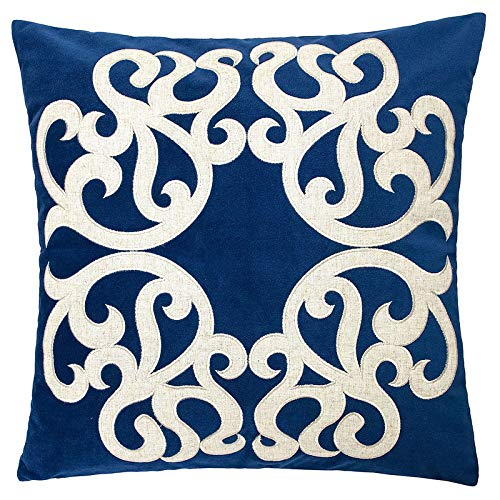 Homey Cozy Indigo Throw Pillow Cover,Large Premium Applique Sparkly Vine Velvet Sofa Couch Pillowcase Modern Home Decor 20x20,Cover Only