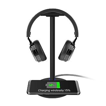 KONKY Cargador Inalámbrico con Soporte Auriculares Universal para Auriculares y Cascos, Gaming Headset Stand Headphone Holder para Auriculares Sony, ...