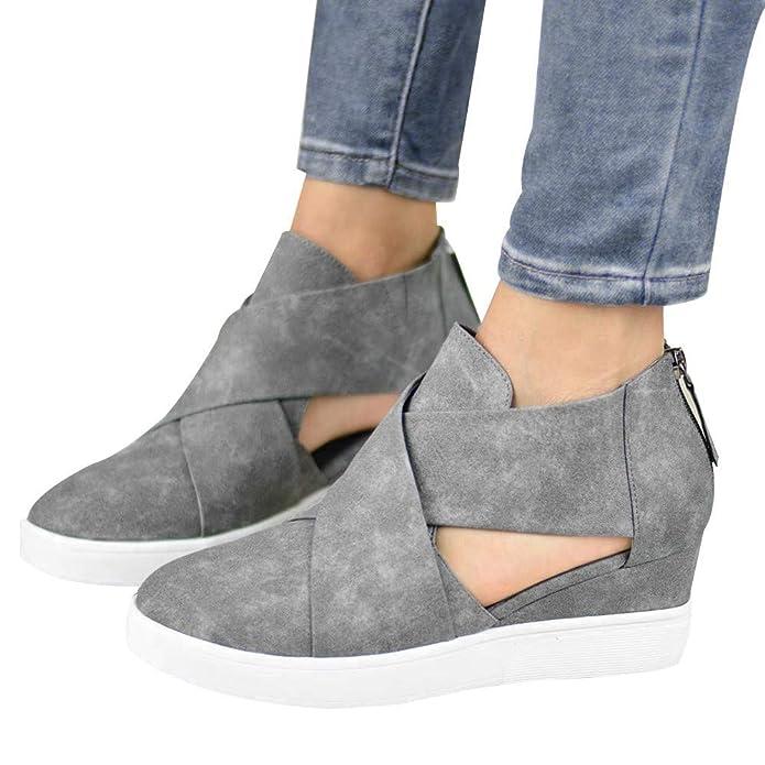 c21f66a29416b Zapatos de cuña Zapatos de Vestir Ayuda para Mujer Otoño Invierno Moda 2018  PAOLIAN Calzado de Cuero Nobuk Plataforma Hueco Señora Casual Cómodos  Zapatillas ...