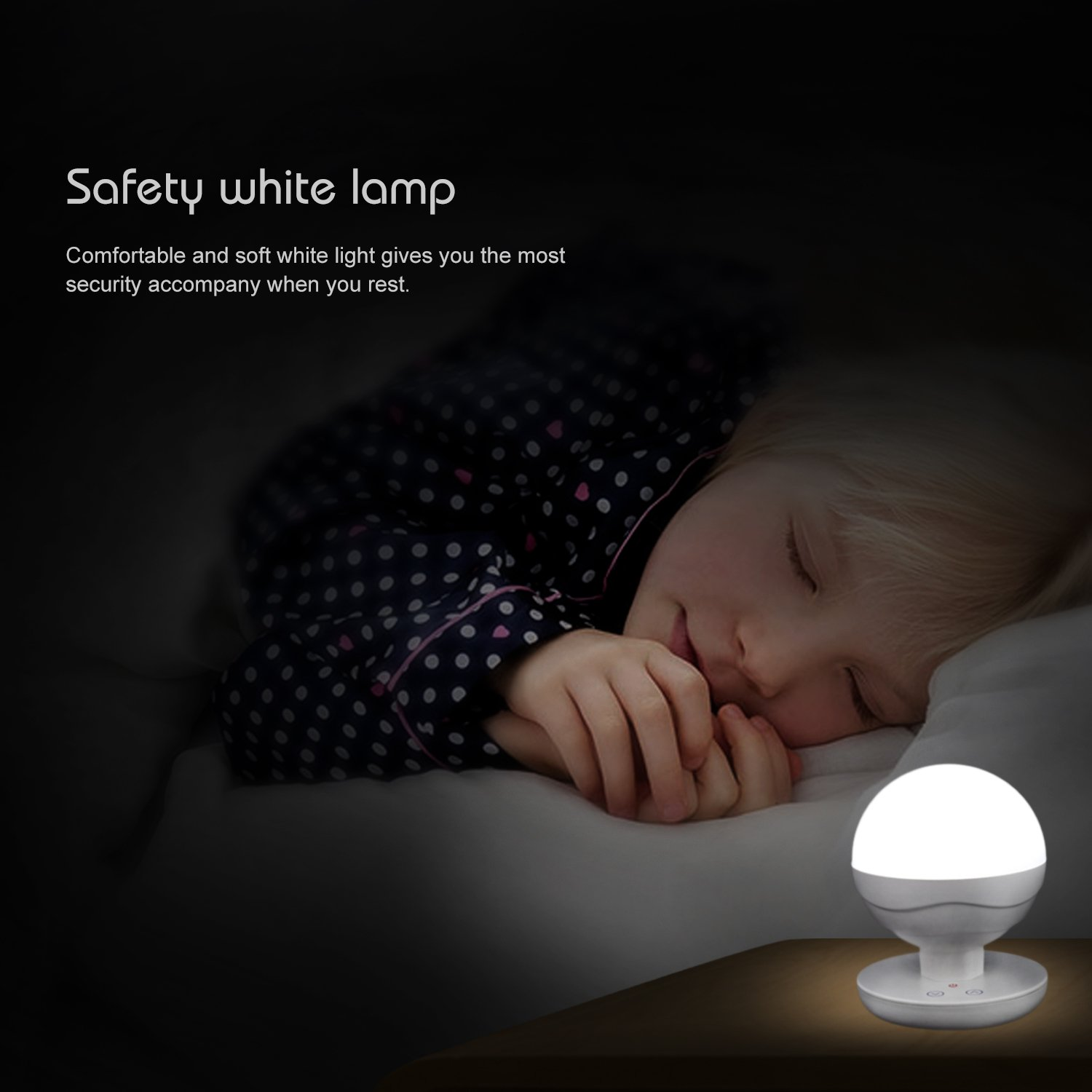 ICOCO Children Kids LED Bedside Lamp USB Dimmable Touch Night Light Reading Lights 6500K Rechargeable Portable Camping Lantern for home indoor and outdoor White
