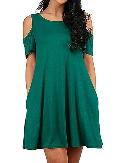 Mujer Vestidos Cortos Verano Elegantes Moda Vestido Casual Hombros Lindo Chic Descubiertos Cuello Redondo Manga Corta